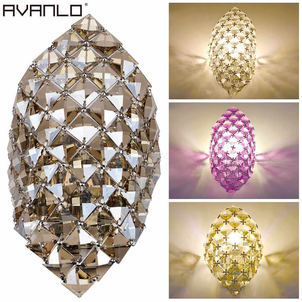 Modern crystal chandelier g9 wall light gold crystalline wall sconce lamp led foyer living room bedside glass crystal wall lamp