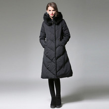 2016 New Rabbit Fur Collar Detachable Natural Color Winter Long Jacket Neat Line Design Women's Coat and Parka Women Basic Coats