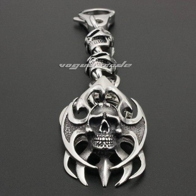 Unique 316L Stainless Steel Huge Tribal Tattoo Blade Skull Mens Keychain 6H001KC_#ClaspB