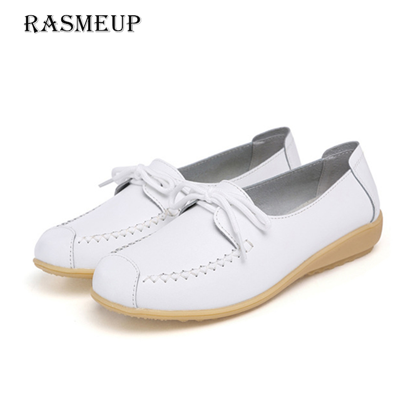 RASMEUP Genuine Leather Women's Lace Up Flat Shoes 2018 Spring Women Soft Sole Comfortable Sneakers Flats Woman Casual Footwear 2018 new casual leather sneakers red black lace up comfortable footwear women sneakers shoes 6 5cm