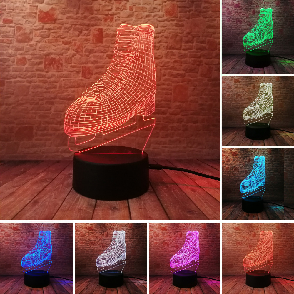 Novelty Creative 7 Color Gradient 3D Skating Shoes illusion Lamp LED Night Light Bedroom Party Birthday Cafe Home Decor Gifts