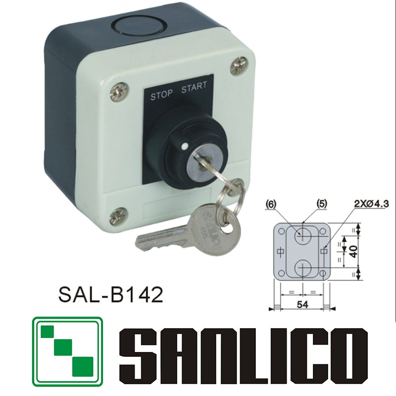 waterproof control box push button switch station (LA68H-B XAL)SAL-B142 rotary selector key lock switch 2-positions keylock rotary on off switch green push button station