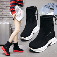 Sock Boots Autumn New Shoes Woman Ankle Boots Black Lady Hip Hop Running Shoes Female Boots Breathable Flat Ladies Sneakers