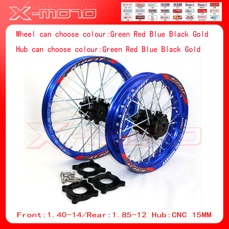 15mm Front 1.60-14 Rear 1.85-12 Alloy Wheel Rim with CNC Hub For KAYO HR-160cc TY150CC Dirt / Pit bike 12 14 inch Blue wheel front 1 60 17 rear 1 85 14 inch alloy wheel rim with cnc hub for kayo hr 160cc ty150cc dirt pit bike 14 17 inch motorcycle wheel