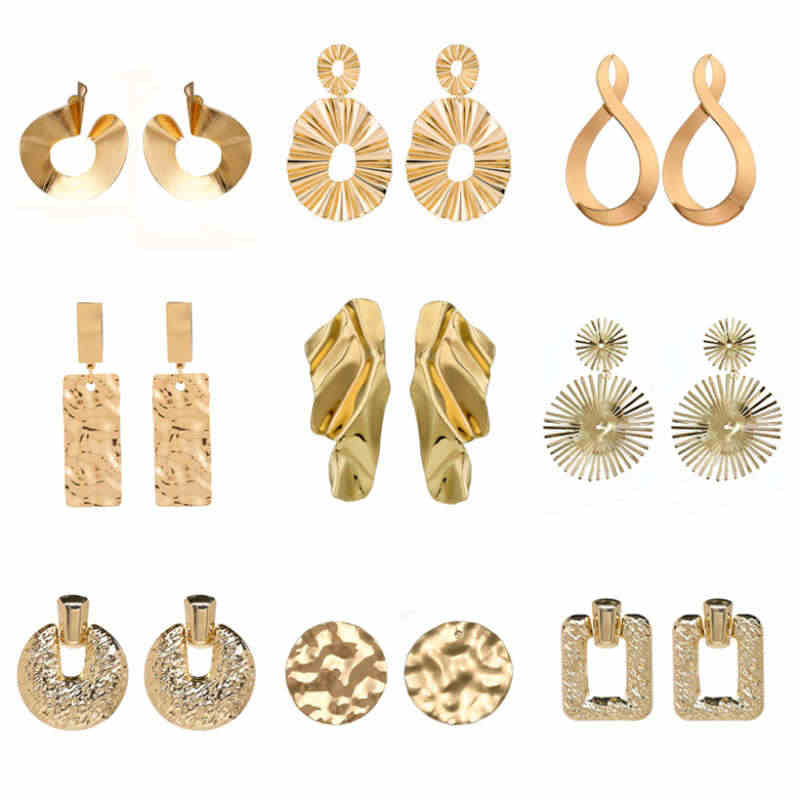 Creative Geometric Drop Earrings For Women Female Exaggerated Metal Dangle Brincos With Gold & Silver Color Nice Jewelry Gift