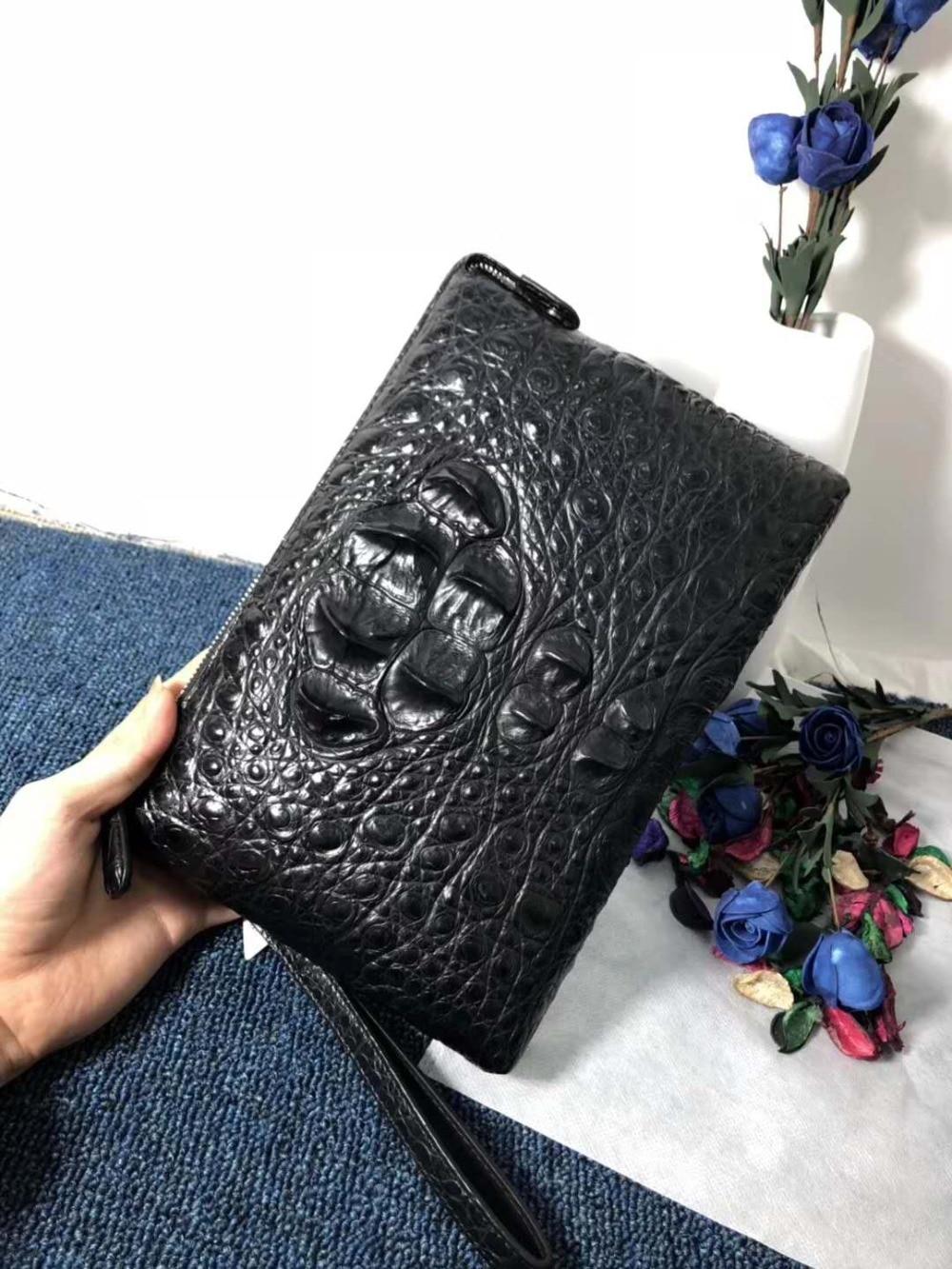 100% real crocodile leather skin wallet and purse alligator head skin black color big size men clutch holder excellent quality