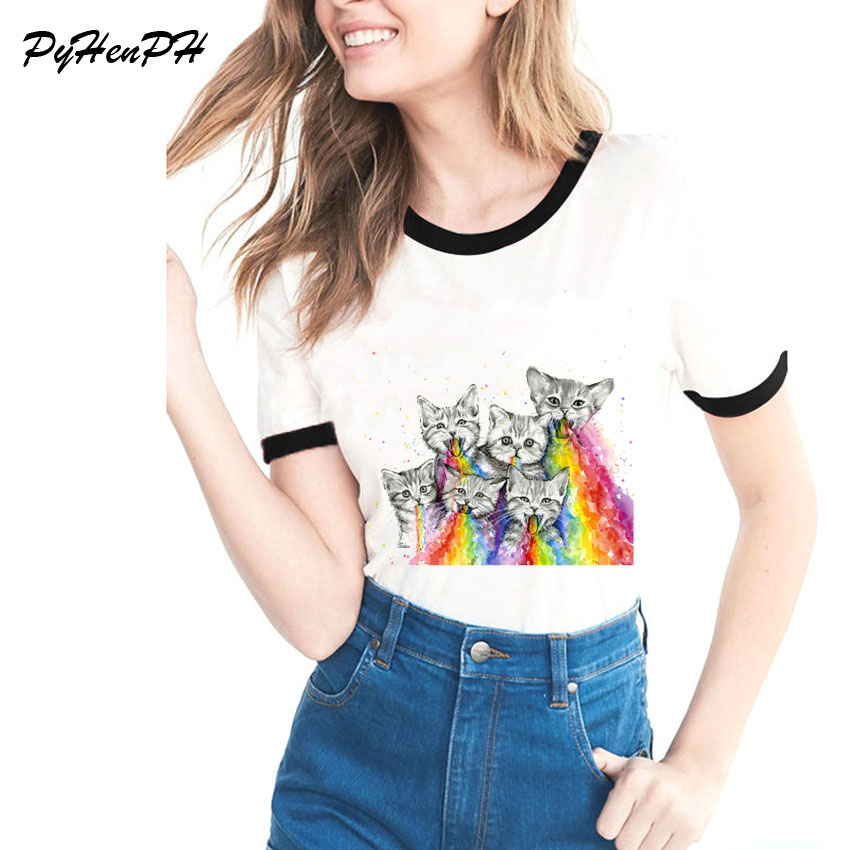 New 2018 T Shirt Women Kittens Puking Rainbows Printed T-shirt Cat Design Summer Shirt Brand Fashion Cool Women Tops