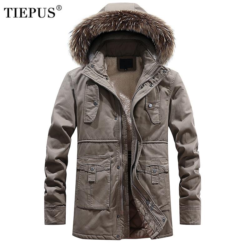 TIEPUS Men Winter fleece Warm Thick Jacket Men Outerwear Windproof Casual Coat with Hooded Mens   Parkas   Size L~2XL 3XL