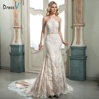 Dressv ivoor halter hals lace mermaid jurk sexy backless mouwloze open back trompet hof trein lange jurk