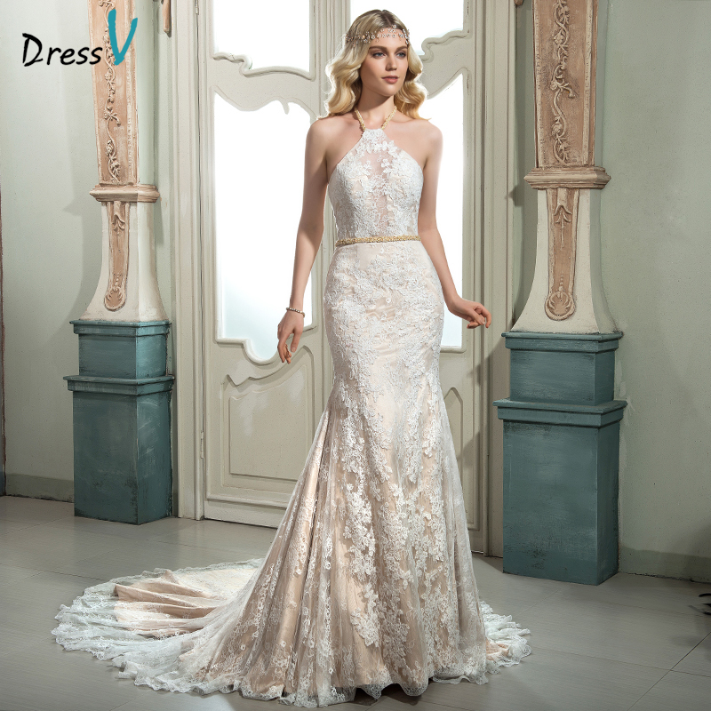Dressv Ivory Halter Neck Lace Mermaid Wedding Dress Sexy
