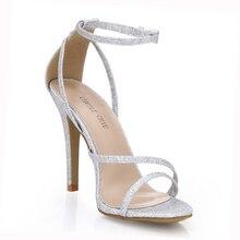 купить Sexy Glitter Bridals Party Open Toe Stiletto Ankle Strap Women Sandals Sandali Tacco Alto a Spillo Matrimonio Scarpe YJ5186-9C дешево