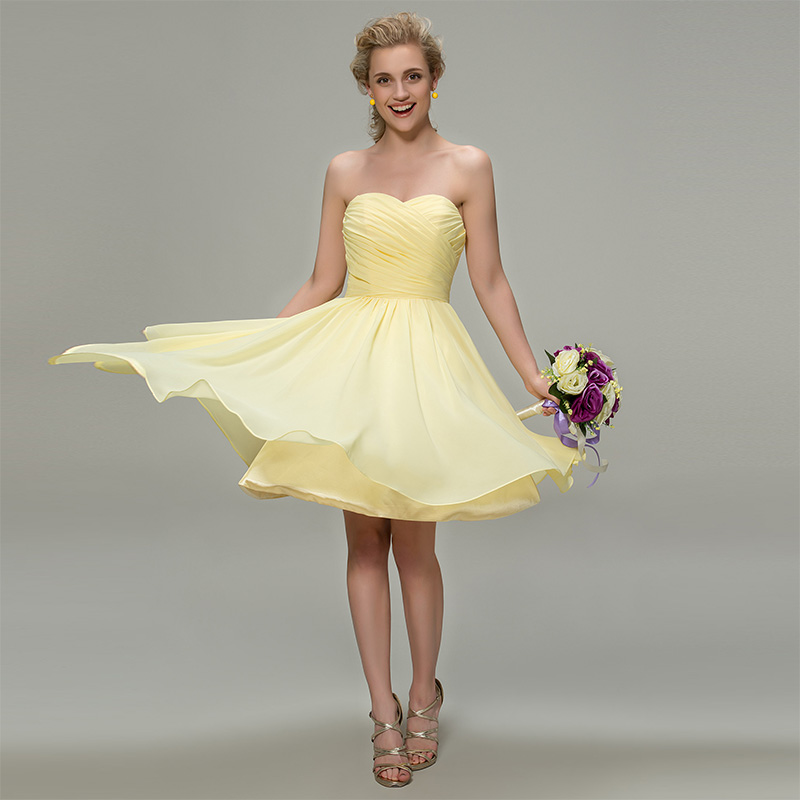 Tanpell strapless   bridesmaid     dress   daffodil sleeveless knee length a line gown women wedding party custom   bridesmaid     dresses
