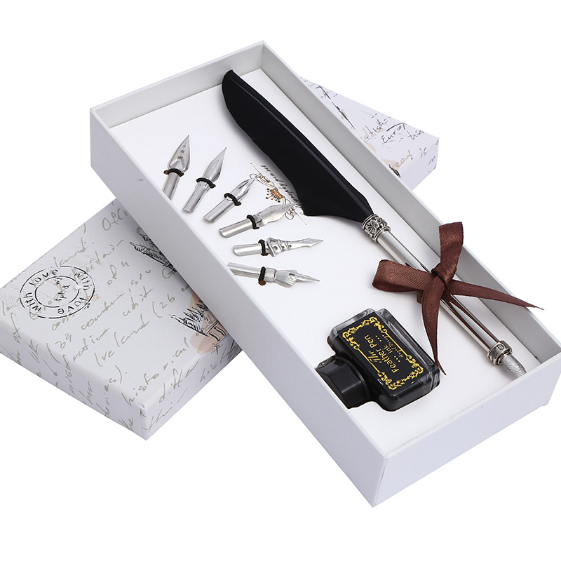 1 Set European Style Retro Feather Pen Set Business Gift Fountain Pen Dipped In Ink Calligraphy Pen