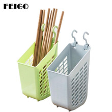 FEIGO 1PC Tableware Storage Rack Hook Up Drain Chopsticks Strainers Spoon Fork Dish Organizer Shelves Kitchen Shelf F532
