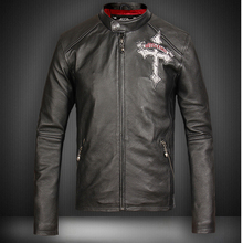 Slim Black Cow Skin Men Genuine Leather Jackets Skull Pattern Genuine Leather Motorcycle Coat cheap Leather Suede Cow Leather Short Stand COTTON Appliques Zippers Pockets STANDARD Full DAYDAYFASHION NONE Solid Casual