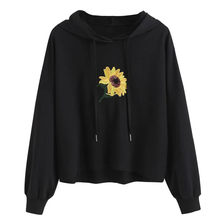 Hoodies Sweatshirt Women Harajuku Streetwear Sunflower Print Hoodie 2018 Winter Women Fashion Clothes Kawaii Korean Moletom(China)