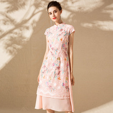 2019 Novel and unique high-end brand spring and summer new women's dress fashion embroidered slim slimming cheongsam dress woman традиционное китайское платье brand new peking cheongsam ccw005