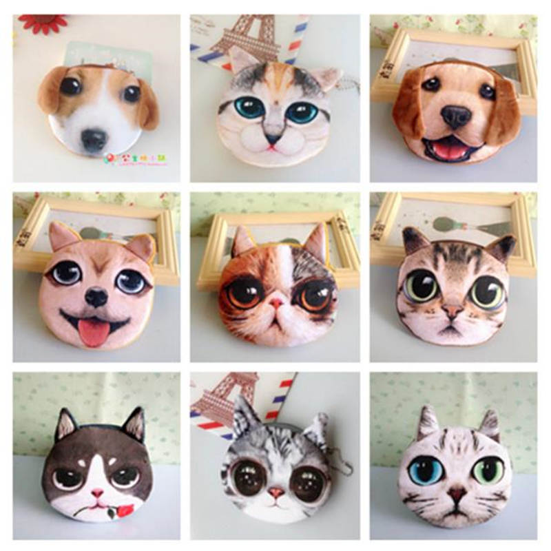 Cat Purse Pouch Girl Wallet Small-Coins Animal-Face Plush Mini Children's Cute Dog Hot