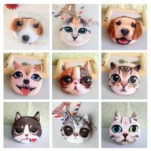 3D милый кошелек для девочек, Сумка с животным лицом на молнии, мини-кошелек для монет с кошкой, плюшевый Кошелек для собак, кошек, детский маленький мешочек для монет