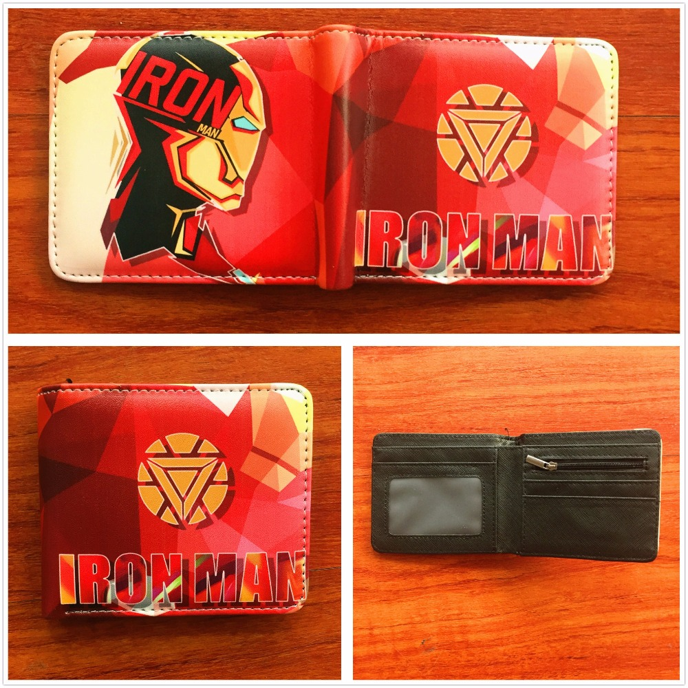2018 Marvel Comics The Avengers Iron Man Wallet Short PU Leather Purse Credit Card Holder Wallets W831
