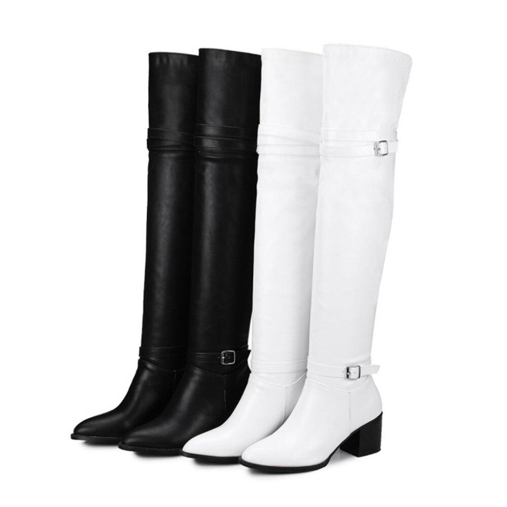 be4e531ef1d7ab Noir En Moto Hiver Pu Le Black Femmes Genou Vache Chaussures Sexy 32 Cuir  white Femelle De Sur Cuissardes 44 Bottes Taille Blanc 5qPn7wET