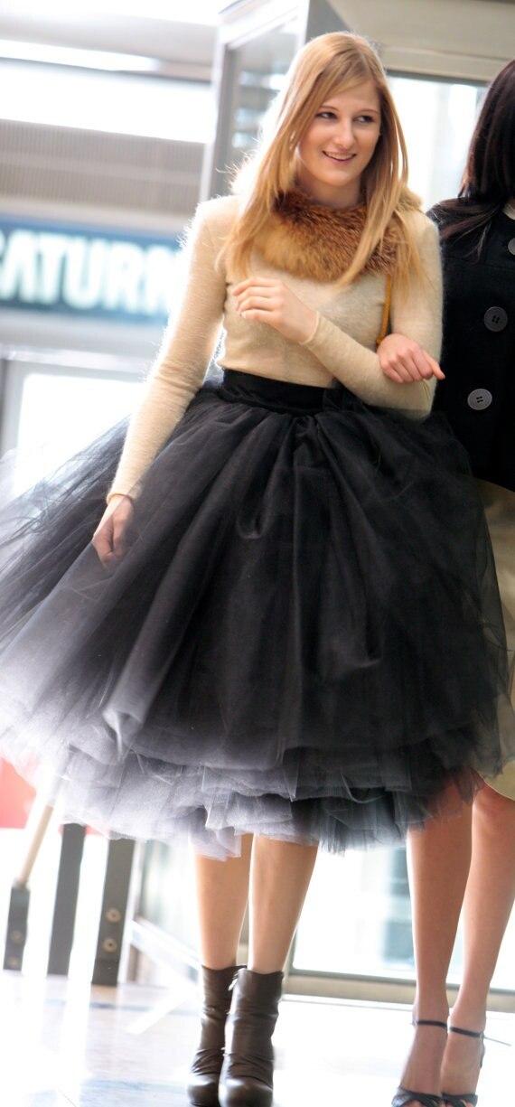 Новая мода новейшие дизайны Женская 5 слоев тюля атласная юбка по колено, сплошной естественный Цвет бальное платье юбка-пачка Для женщин