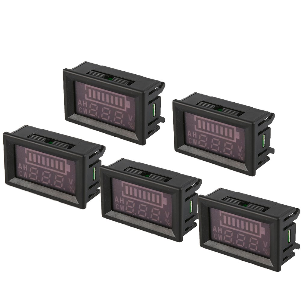 5PCS 5 80V LED Digital Display Panel Battery Percentage Voltmeter Electric Voltage Meter Volt Tester for Auto Car Motorcycle