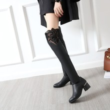 Big Size 34-46 Over the Knee Boots for Women Sexy High Heels Long boots Winter Shoes Ponited Toe Platform Knight Boots 7340