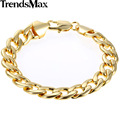 Trendsmax 11mm Wide Womens Mens Chain Unisex Boys Girls Curb Cuban Link Rose Yellow White Gold Filled GF Bracelet Gift GBM60