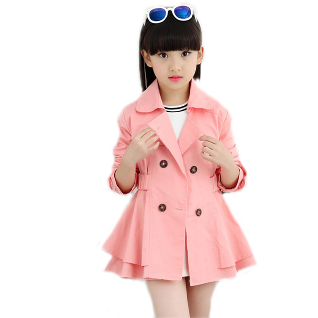 e956e04ea237 2018 Children s jacket girls trench coat spring kids clothes double ...