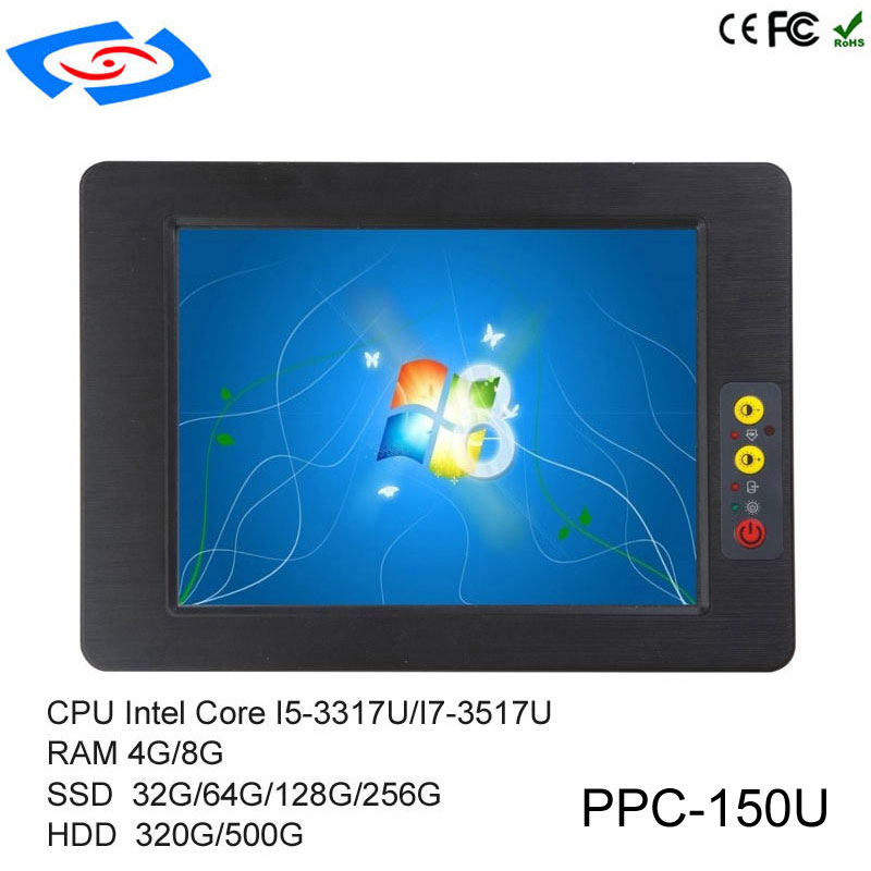 High Quality 15 Inch Embedded Mini Fanless Industrial Panel PC With RAM 4G/8G SSD 32G/64G/128G/256G 1024x768 Resolution For KTV