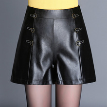 Shuchan New Autumn And Winter Women Pu Leather Shorts Elastic Mid Waist Straight Female Casual Shorts Loose Style Plus Size 7812