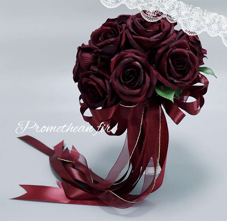 wedding bouquets artificial flower maroon color bridesmaid bridal