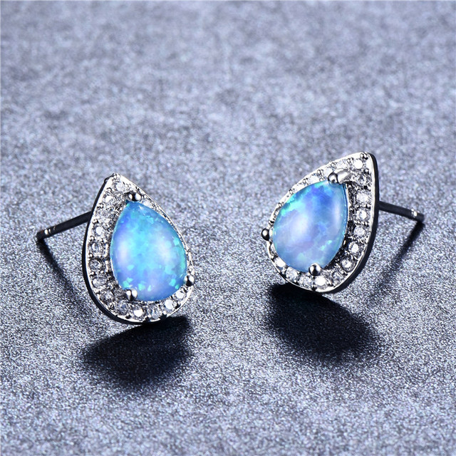 Bamos Fashion Cute Blue Fire Opal Stud Earrings 925 Sterling Silver Filled Vintage Waterdrop Wedding For Women Jewelry