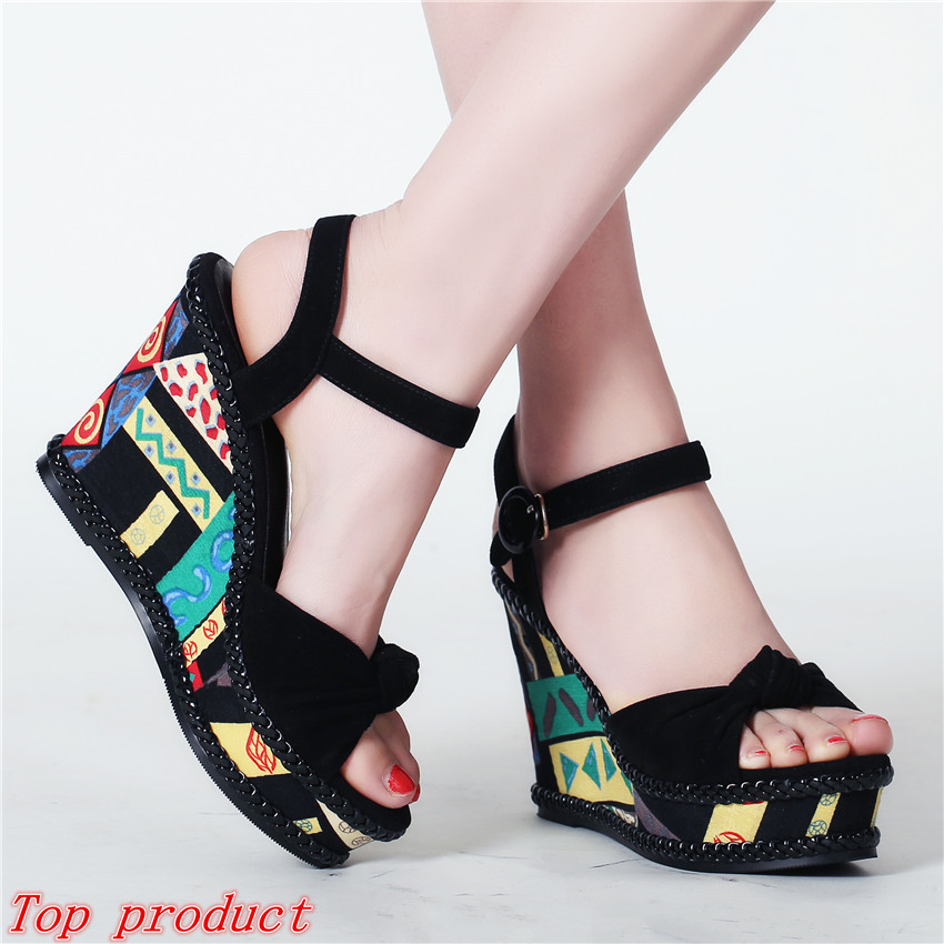 Genuine Leather Women Platform High Heel Wedge Gladiator Sandals Shoes Woman High Heels Wedges Sandals Plus Size 34-40 41 42 phyanic 2017 gladiator sandals gold silver shoes woman summer platform wedges glitters creepers casual women shoes phy3323