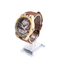 BOBO BIRD One Piece Quartz Analog Bamboo Watch with Genuine Leather Strap Japanese Movement Wood Watch