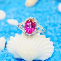 Silver Rings For Women Big Pink Round Topaz Ring Pure 925 Sterling Silver Fenale Ring Party
