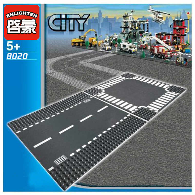 ENLIGHTEN City Road Street Baseplate Straight Crossroad Curve T-Junction Building Blocks Parts Bricks Base Plate