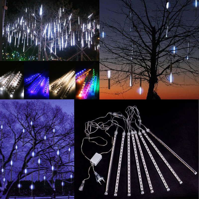 Liberal 50cm Led Lights Meteor Shower Rain 8tube Xmas Tree Outdoor Light Eu Plug 2017 Newest Arrival