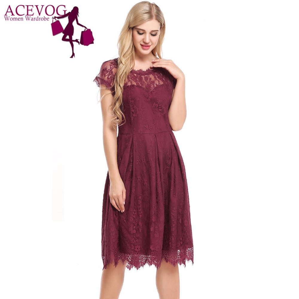 ACEVOG Women Lace Dress Sexy Hollow Out Vintage Floral Drapped A-Line Pleated Party Feminino Dresses See-through Brand Vestidos