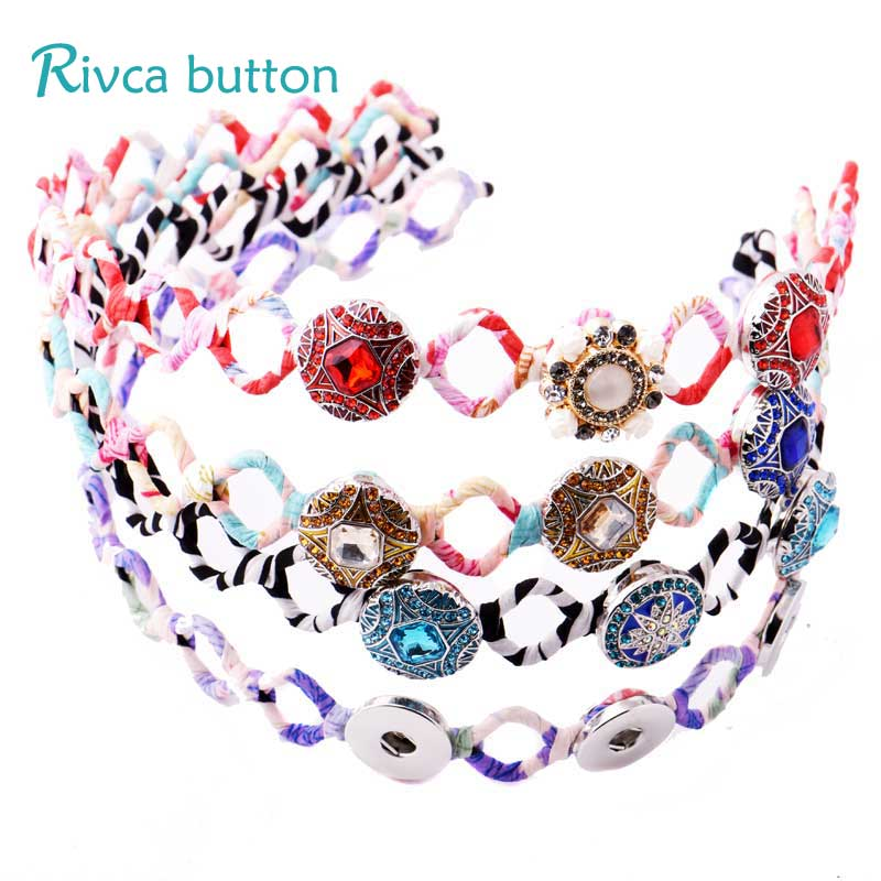RIvca Snap Button Jewelry 6 Colour Fit 18mm Snap Button Sifuhthe Hair Accessories For Girls Headband Kids Headwear P01104 ...