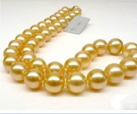 2017 NEW GENUINE Huge 18 Round 10 11mm south sea golden pearls Necklace Gold