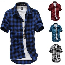 2018 new fashion casual shirt college wind Summer Mens Classic Fashion Grid Short Sleeve Shirt