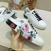 White Real Leather Flower Decor Women Sneaker Crystal Platform Shoes Casual Women Shoes Luxury Rivet Zapatillas Deportivas Mujer