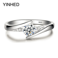Sent Certificate Of Silver YINHED 100 Pure 925 Sterling Silver Ring Set Luxury 0 5 Ct