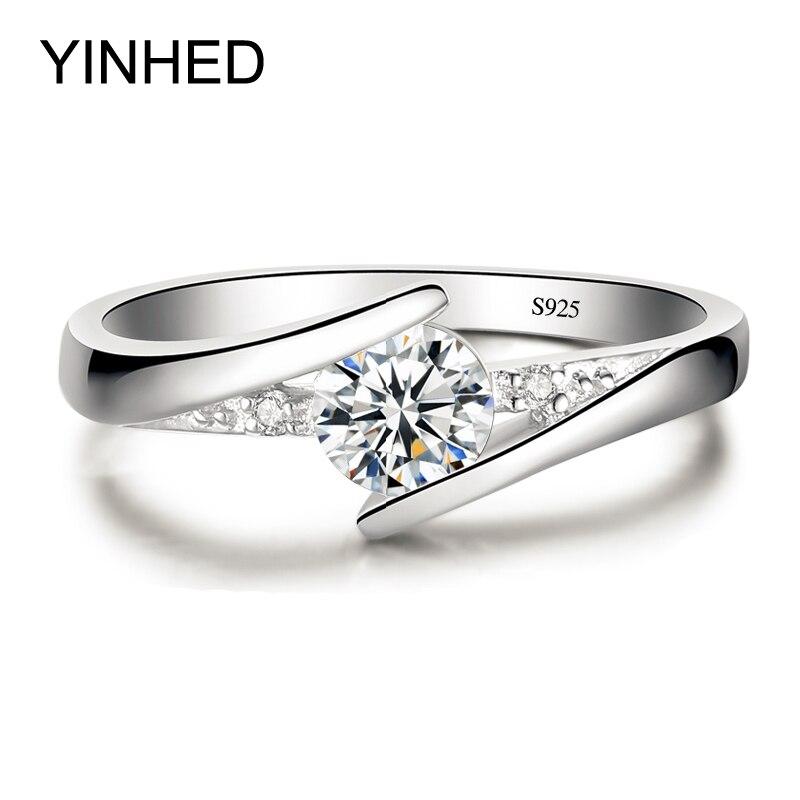 Inviato Certificato di Argento! YINHED 100% Pure 925 Sterling Silver Ring Set di Lusso 0.5 ct CZ Anelli di Cerimonia Nuziale per Le Donne ZR327 Diamant