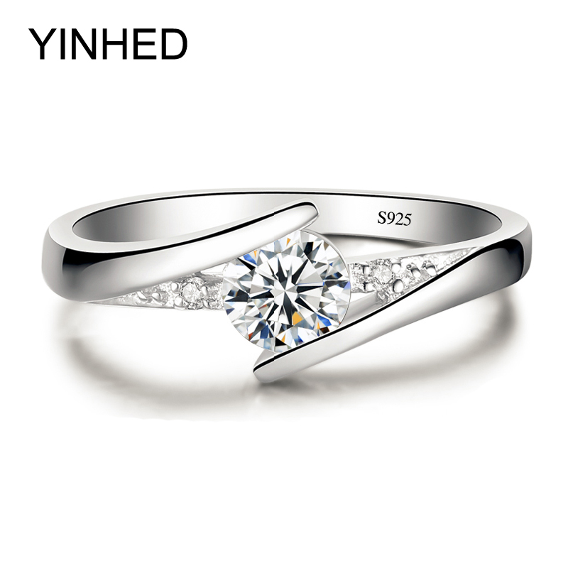 Inviato certificato d'argento! YINHED Anello in argento sterling 925 puro al 100% Set Luxury 0,5 ct CZ Diamant Anelli per le donne ZR327
