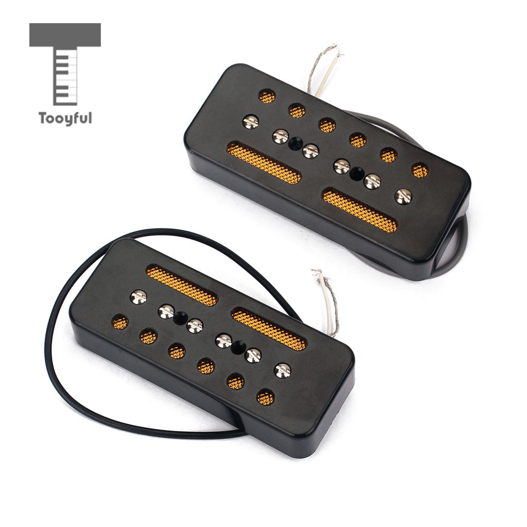 Tooyful A Pair of Black Single Coil Soap Bar Pickups for P-90 P90 Electric Guitar 50mm / 52mm Hole Space niko 50pcs chrome single coil pickup screws