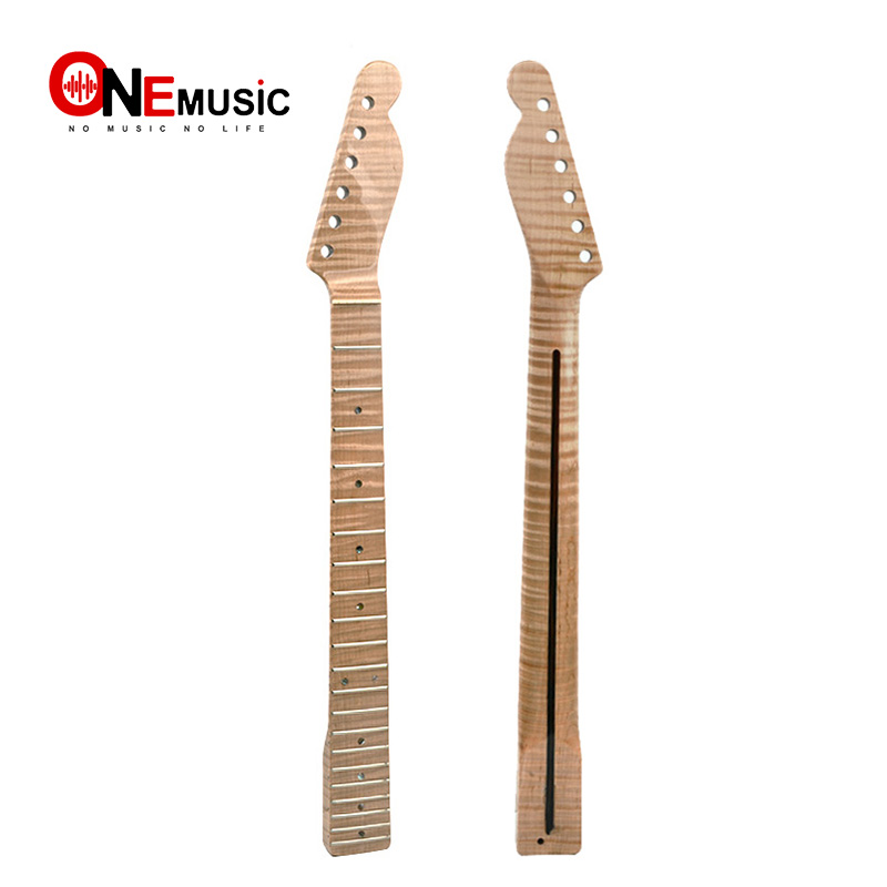 21 Fret Tiger Flame Maple Guitar Neck Replacement Maple TL Electric Guitar  Neck with Abalone Dots Natural Glossy21 Fret Tiger Flame Maple Guitar Neck Replacement Maple TL Electric Guitar  Neck with Abalone Dots Natural Glossy