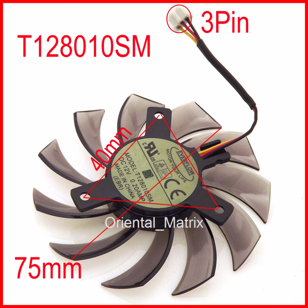 T128010SM 75mm 3Pin 40x40x40mm VGA video kartica ventilator za GTX580 GTX670 560TI hladilni ventilator